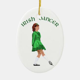 Soft Shoe Irish Dancer in Green Ceramic Oval Decoration