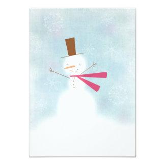 Soft snowman customizable party invitation