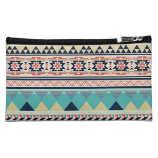 Soft Southwest Tribal Pattern Pink Turquoise Gold Cosmetic Bag