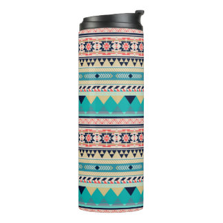 Soft Southwest Tribal Pattern Pink Turquoise Gold Thermal Tumbler