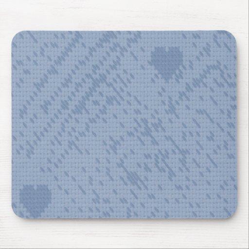 soft stitch blue -love mousepads