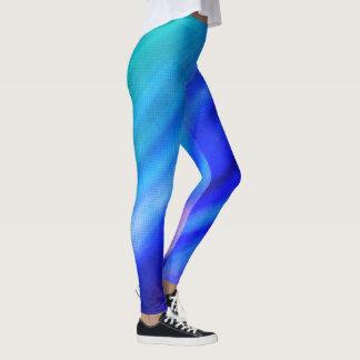 Soft Striped and Geometric Leggings in Blue/Purple