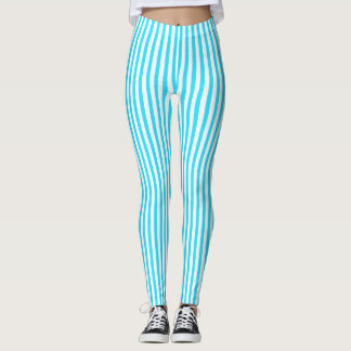 Soft Striped Leggings in Blue and White