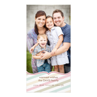 Soft Stripes Holiday Premium 4x8 Photo Card