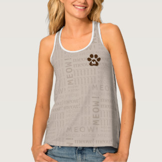 Soft Taupe with Chocolate Brown Cat Lover Tank Top