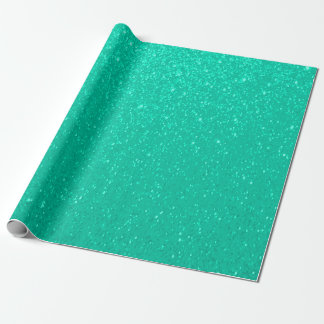 Soft Teal Blue Glitter Print Gift Wrap Paper