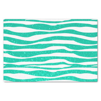"Soft Teal Blue Glitter Zebra Animal Print 10"" X 15"" Tissue Paper"