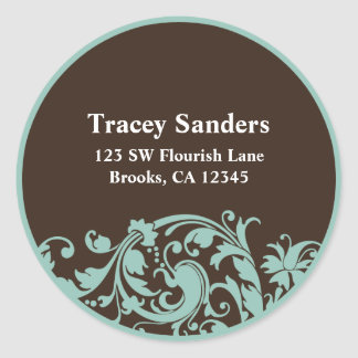 Soft Teal & Brown Swirl Custom Address Label Round Sticker