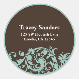 Soft Teal & Brown Swirl Custom Address Label Round Sticker