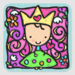 Soft teal little girly princess golden crown heart square sticker