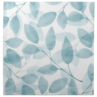 Soft Teal Watercolor Leaves Napkin