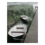 Soft Tint Row Boats Along the River Poster