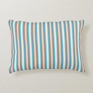 Soft Toned Orange Blue White Stripes Decorative Cushion
