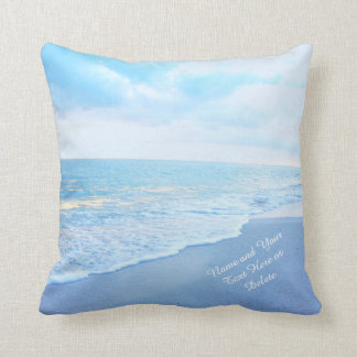 Soft Turquoise and Blue Beach Pillows YOUR TEXT Cushion