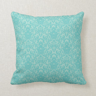Soft Turquoise Damask Pattern Cushion
