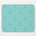 Soft Turquoise Damask Pattern Mousemat
