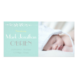 Soft Vintage Blues Birth Announcement Photo Card