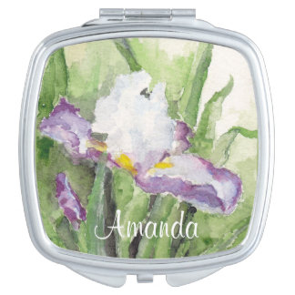 Soft Watercolor Iris Compact Mirror