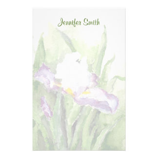 Soft Watercolor Iris Stationery