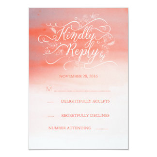 Soft Watercolor Modern Pink Wedding RSVP Card