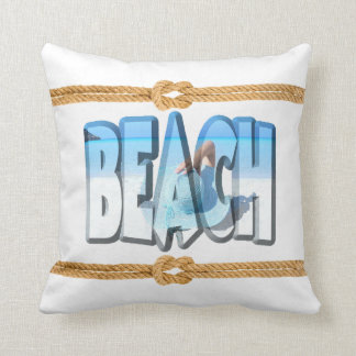 Soft White and Blue Beach Front ocean Cushion