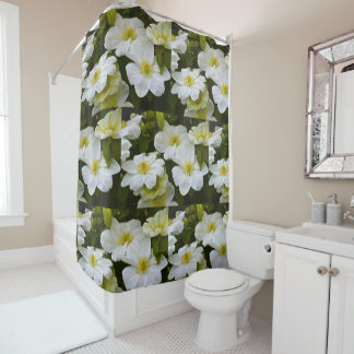 Soft White Clematis Shower Curtain