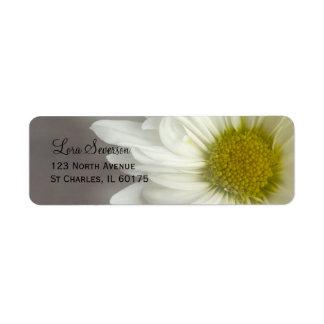 Soft White Daisy on Gray Return Address Return Address Label