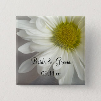Soft White Daisy on Gray Wedding 15 Cm Square Badge