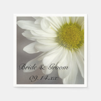 Soft White Daisy on Gray Wedding Disposable Serviette