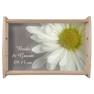 Soft White Daisy on Gray Wedding Serving Platters