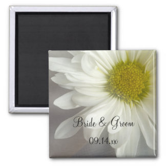Soft White Daisy on Gray Wedding Square Magnet