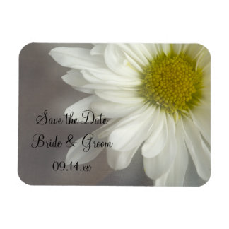 Soft White Daisy Wedding Save the Date Magnet