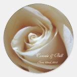 Soft White Rose Custom Wedding Envelope Seals Round Stickers