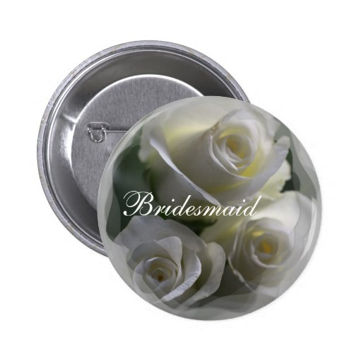 Soft White Roses Wedding badges Button