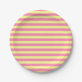 Soft Yellow and Pink Stripes Paper Plate