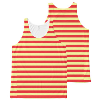 Soft Yellow and Red Stripes All-Over Print Tank Top