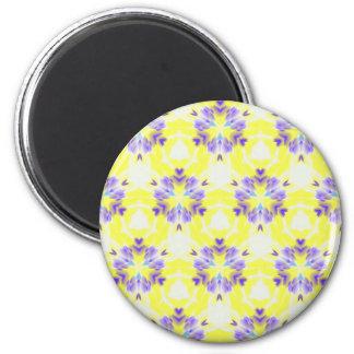 Soft Yellow Lavender Fractal Seamless Pattern 6 Cm Round Magnet