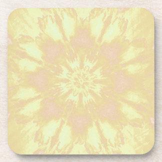 Soft Yellow Peach Mandela Kaleidoscope Pattern Coasters