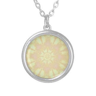 Soft Yellow Peach Mandela Kaleidoscope Pattern Round Pendant Necklace