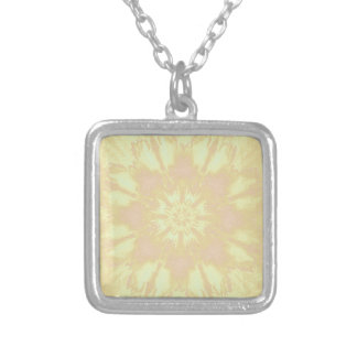 Soft Yellow Peach Mandela Kaleidoscope Pattern Square Pendant Necklace