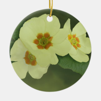 Soft Yellow Primrose Flowers Round Ceramic Decoration