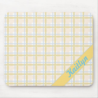 Soft Yellow with Light blue Tartan Striped pattern Mouse Pad
