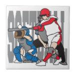 Softball Action Ceramic Tile