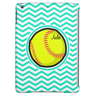 Softball; Aqua Green Chevron