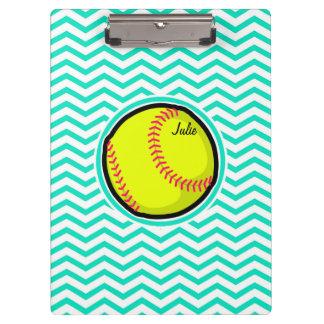 Softball; Aqua Green Chevron Clipboard