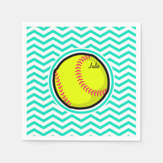 Softball; Aqua Green Chevron Disposable Serviettes