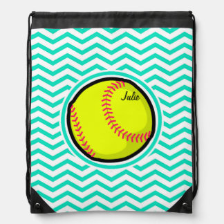 Softball; Aqua Green Chevron Drawstring Bag