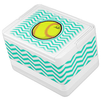 Softball; Aqua Green Chevron Igloo Cooler