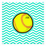 Softball; Aqua Green Chevron Personalized Invitation