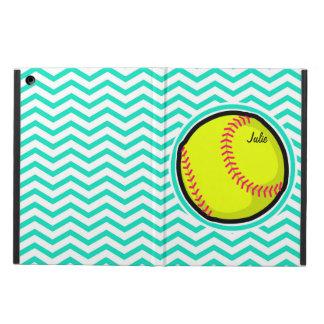 Softball; Aqua Green Chevron iPad Air Cover